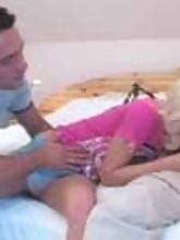 Movies of sexy blonde getting reamed hard in the ass and pussy