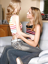 Erica Lightspeed and her girlfriend make out on the couch